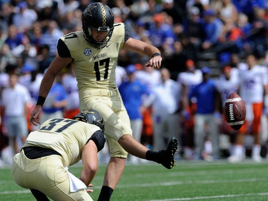 Vanderbilt placekicker Tommy Openshaw (17) is 7-of-9