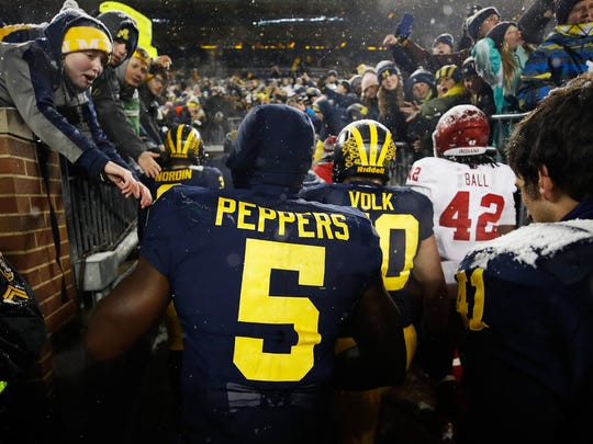 Michigan's Jabrill Peppers leaves the field after a 20-10 win over the Indiana Hoosiers on Nov. 19, 2016 at Michigan Stadium in Ann Arbor.