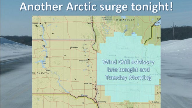 Temperatures could hit -20 in Sioux Falls overnight.