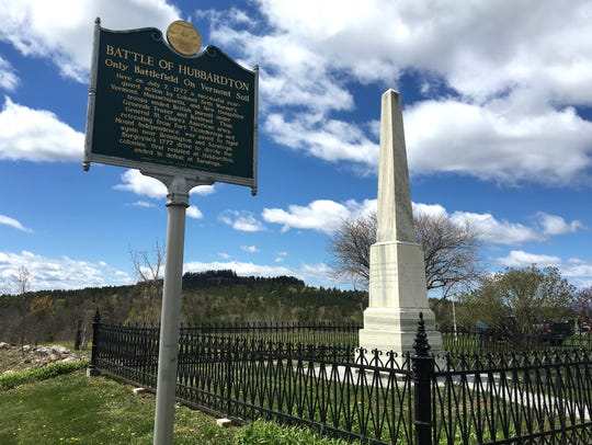 A marble obelisk marks the site of the Battle of Hubbardton,