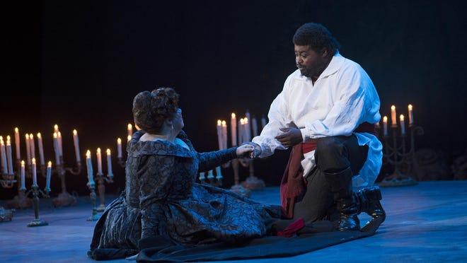"Russell Thomas displayed an ardent tenor voice as Manrico, who loves Leonore (Julianna Di Giacomo), in Cincinnati Opera's ""Il Trovatore"""