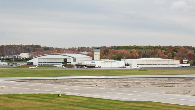 A view of runways and hangars at Stewart International Airport, New Windsor.