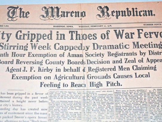 World War 1 brought conflict in Iowa County as well