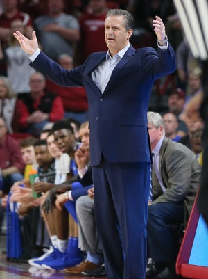 Feb 20, 2018; Fayetteville, AR, USA; Kentucky Wildcats head coach John Calipari reacts to a non call during the first half against the Arkansas Razorbacks at Bud Walton Arena. Mandatory Credit: Nelson Chenault-USA TODAY Sports