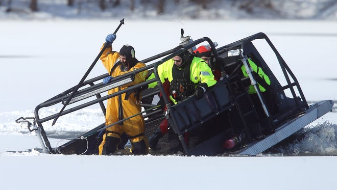 An OEM amphibious rescue craft sinks into Mills Pond after almost reached a deer stuck on the ice but suddenly tipped and sank into the pond. All of the responders and the deer were rescued. March 19, 2017, Roxbury, NJ