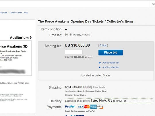 """A Newark """"Star Wars"""" fan is selling a pair of opening night tickets for $10,000 on eBay."""