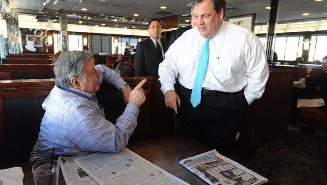 Governor Chris Christie greeted Richard Visceglia at Tops Diner in East Newark prior to a press conference in 2013.