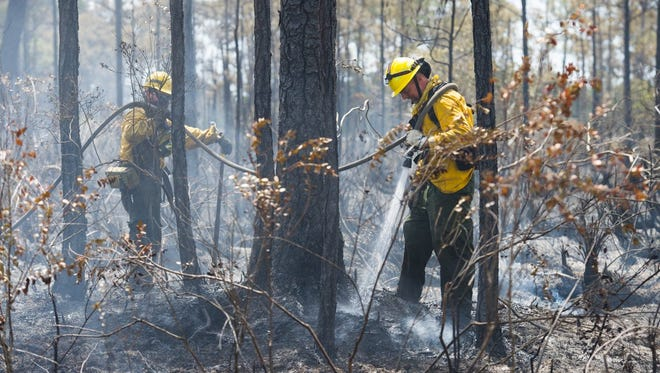 Florida Forest Service fire techs Dan Pastika and Robert Wiggins continue mopping up hot spots from Thursday's wildfire in Port St. Lucie.