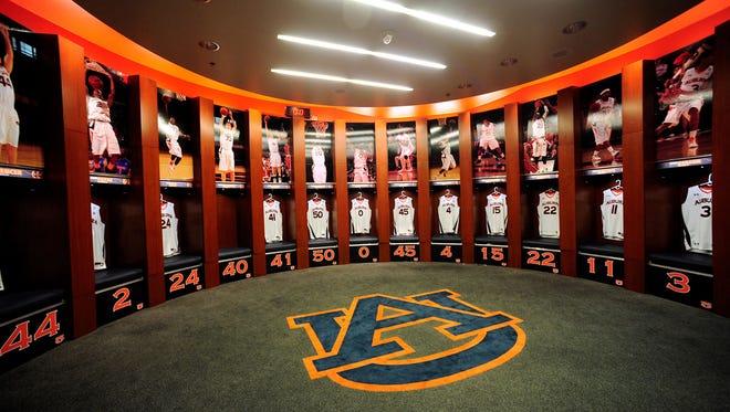 An artist rendering of the improvements to the Auburn Arena men's basketball locker room.