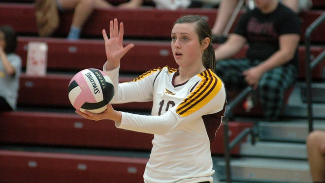 Ankeny's Claire Walker prepares to serve the ball in a match from last year.