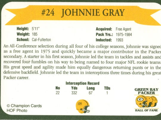 Packers Hall of Fame player Johnnie Gray