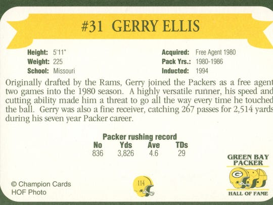 Packers Hall of Fame player Gerry Ellis