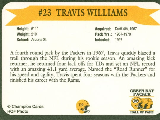 Packers Hall of Fame player Travis Williams