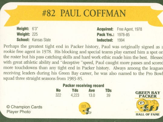 Packers Hall of Fame player Paul Coffman