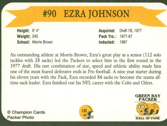 Packers Hall of Fame player Ezra Johnson