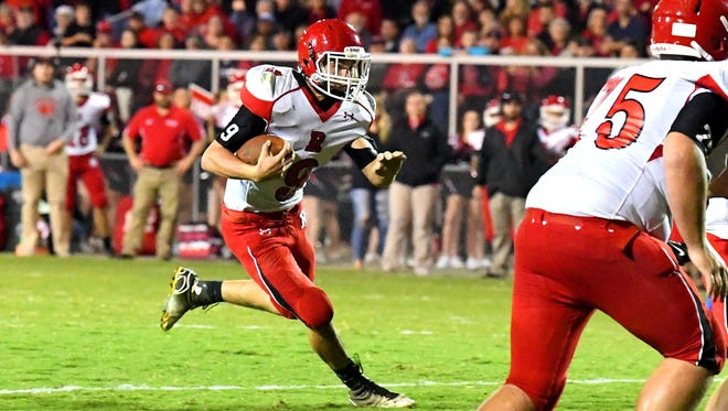 Riverheads' Tyler Smith runs the football during a football game played in Staunton on Friday, Oct. 20, 2017.