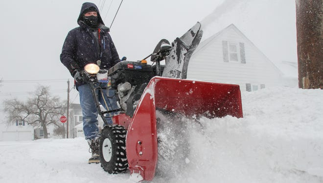 Tom Spader/Staff Photographer Rich Sisti of Point Pleasant Beach spent his morning on Tuesday snow blowing the walks and driveways of his neighbors following the storm. Point Pleasant Beach,  NJ          Rich Sisti of Point Pleasant Beach spend his morning snow blowing the walks and driveways of his neighbors in PPBeach.  012715 Photo: Tom Spader/Staff Photographer