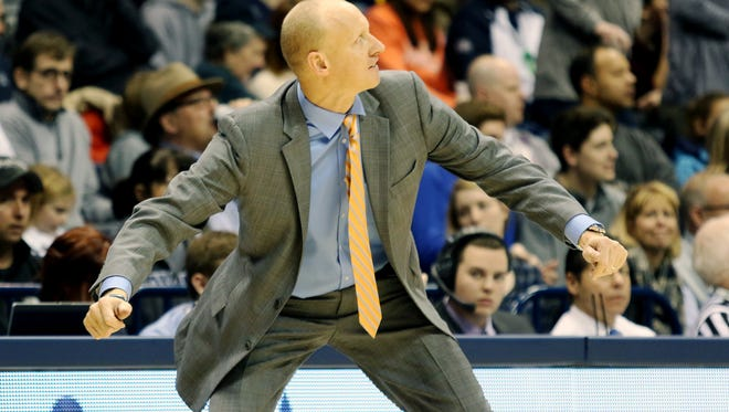 Xavier head coach Chris Mack reacts to a call during the second half against Seton Hall at the Cintas Center Saturday, January 23, 2016. Xavier won 84-76.