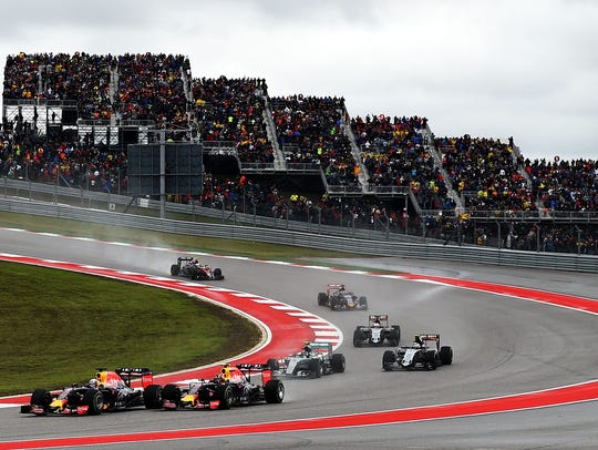 A packed house watches the U.S. Grand Prix at the Circuit