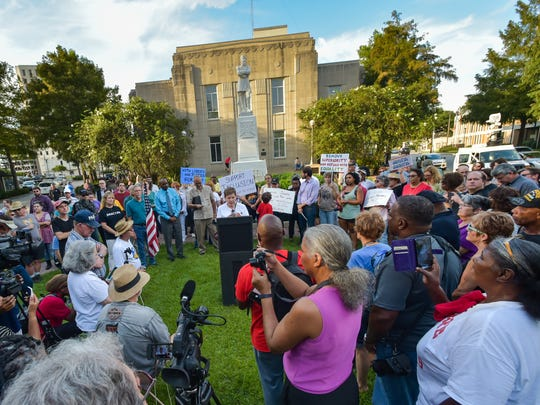 Move the Mindset, a group that wants the statue of Confederate Gen. Alfred Mouton removed from downtown Lafayette, hosts a press conference. August 23, 2017.