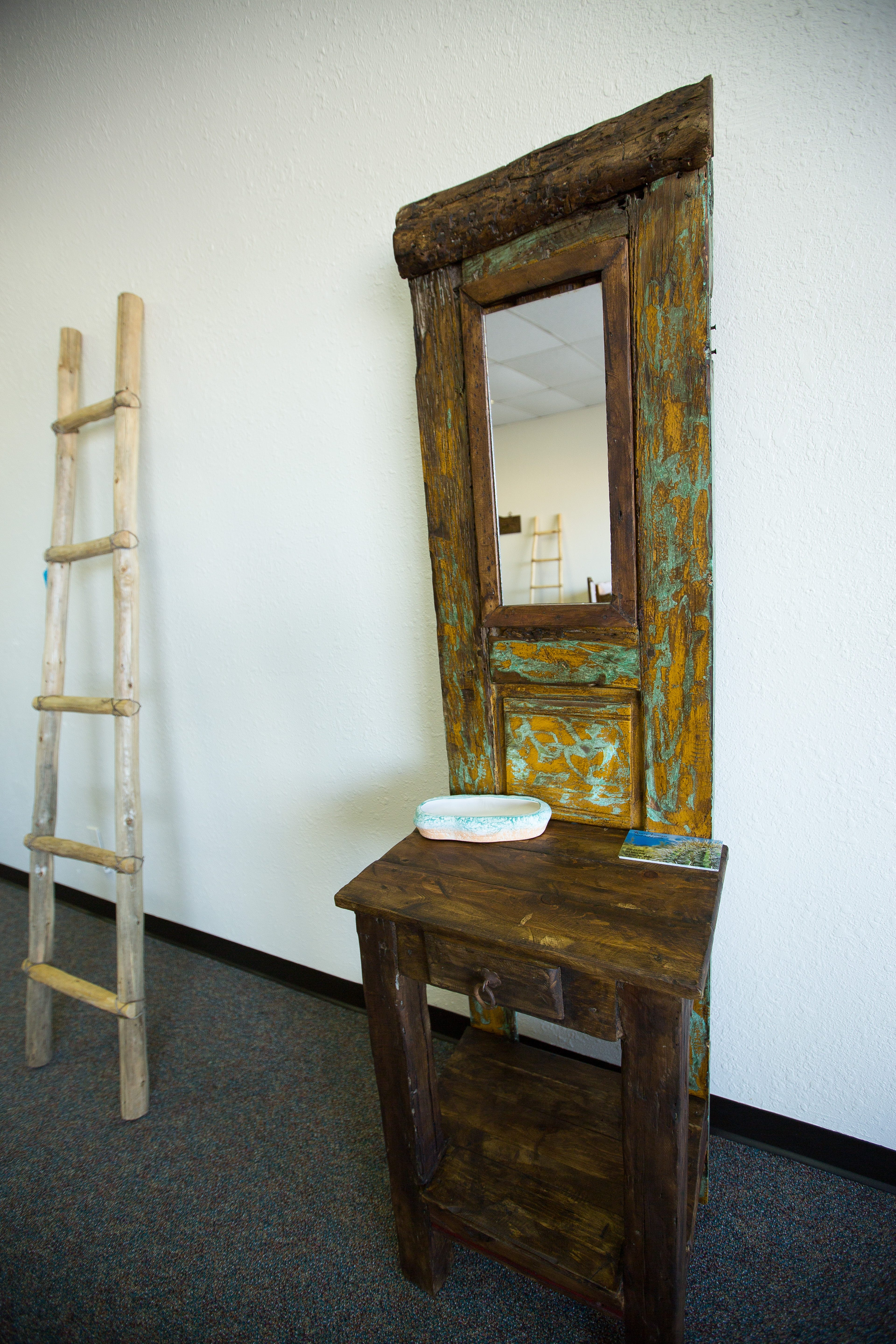 Vanity Mirror And Decorative Ladder Available At Rustic