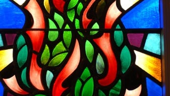 Stained glass window in synagogue