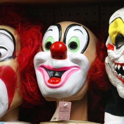 This is a display of clown masks. Clown sightings have