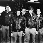 Lt. Col. James H. Doolittle, front left, was the pilot of Crew 1 during the famous April 18, 1942 raid on Japan mainland. Lt. Richard E. Cole, front right, was his copilot. The rest of the crew, back row from left, included Lt. Henry A. Potter, navigator; Staff Sgt. Fred A. Braemer, bombardier; and Staff Sgt. Paul J. Leonard, flight engineer/gunner.