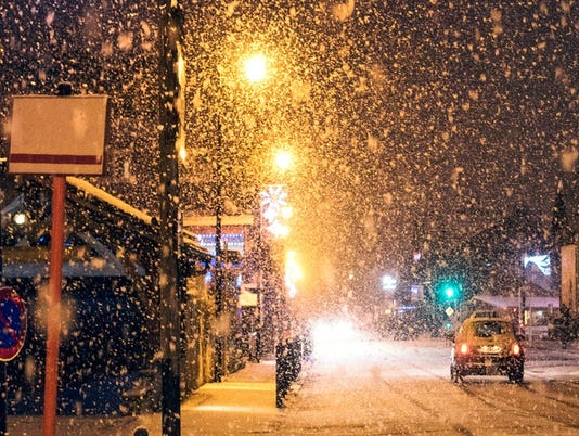 Heavy snowfall in the French Alpine town of Morzine