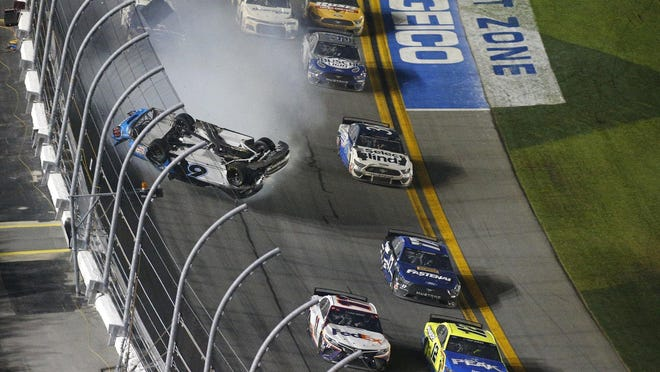 Ryan Newman crashes in the tri-oval coming down to the checkered flag on the last lap of this year's Daytona 500.