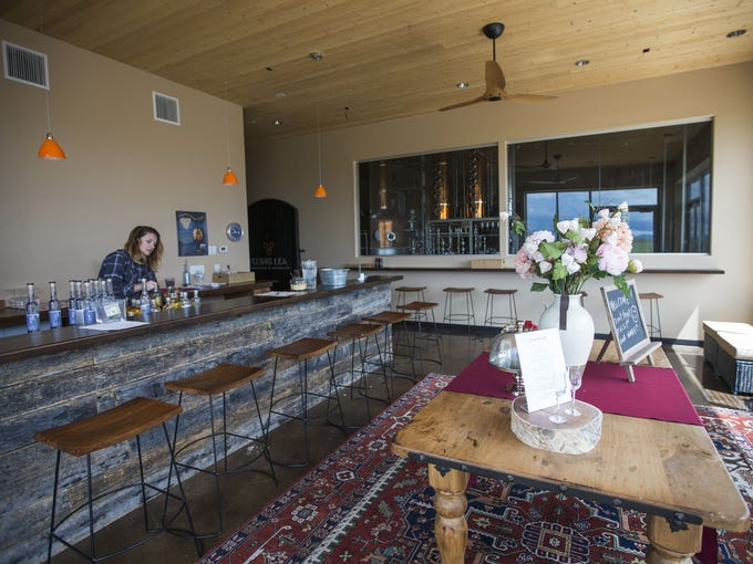 Interior of the spirits tasting room at Flying Leap
