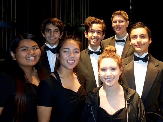 Percussionists from Cathedral City and Palm Springs High Schools join the CVS percussion section for the evening. Left to right: Jean Castro, Alex Macias, Jessica Ramos, Sebastian Lopez, Janette Tirado, Skyler Reid, Adam Tamez
