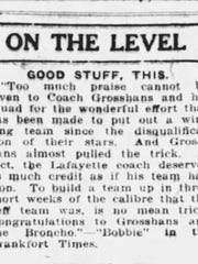 """One of the earliest references to Lafayette Jeff Bronchos was in this sports page brief from the March 12, 1922, Journal & Courier, offering """"congratulations to (coach Fritz) Grosshans and the Broncho."""""""