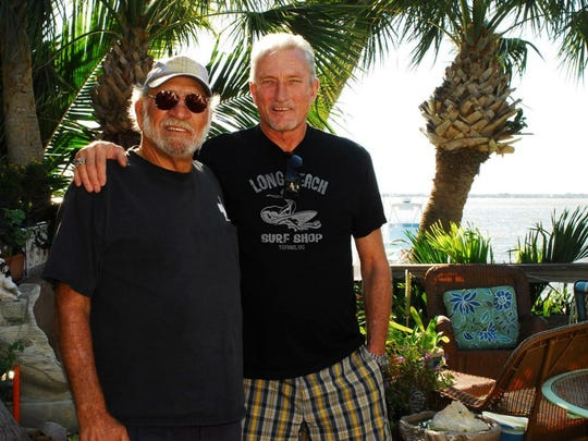 Dick Catri with Mike Tabeling, legends of surfing in Brevard.