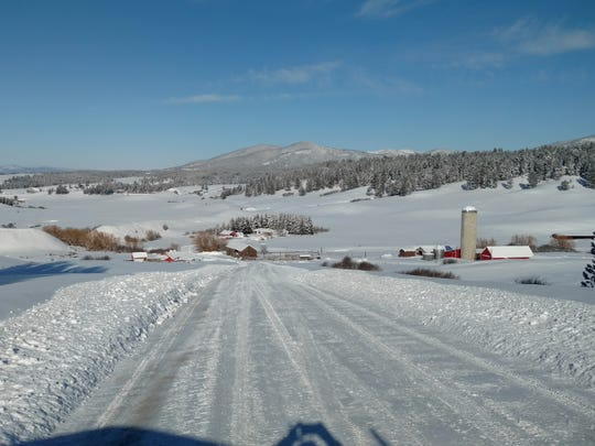 A winter view of the Jackson farm east of Lewistown,