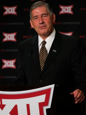 Big 12 commissioner Bob Bowlsby speaks to the media during the Big 12 Media Days at Omni Dallas. Mandatory Credit: Kevin Jairaj-USA TODAY Sports
