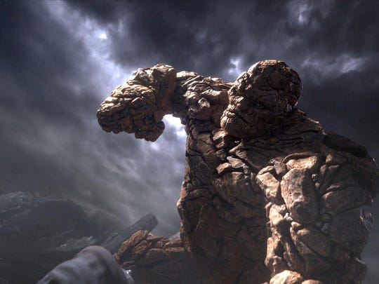 """The Thing's (Jamie Bell) stone body gives him epic strength and makes him virtually indestructible in a scene from """"Fantastic Four."""""""