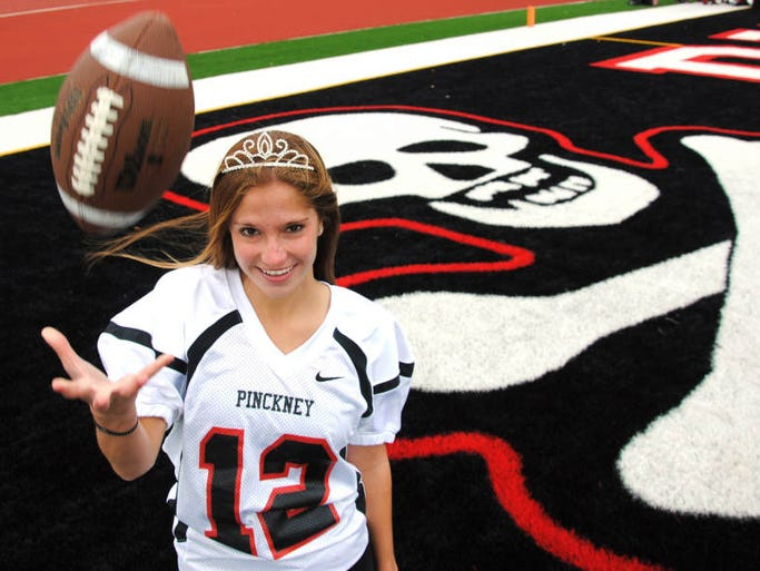 Brianna Amat, who was crowned homecoming queen at halftime, hit the winning field goal from 31 yards out as Pinckney's football team beat Grand Blanc 9-7 on Friday night.