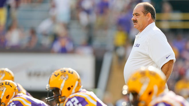 LSU Tigers defensive coordinator John Chavis before a game against the Kent State Golden Flashes at Tiger Stadium.