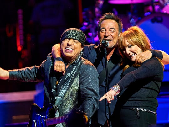Bruce Springsteen, center, Stevie Van Zandt, left, and Patti Scialfa perform with the E Street Band at Madison Square Garden, Wednesday, Jan. 27, 2016, in New York City.