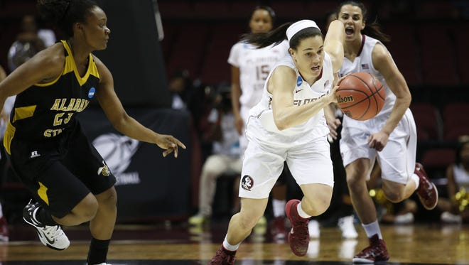 FSU's Brittany Brown races down court against ASU during their game in round one of the NCAA Tournament at the Civic Center on Saturday.