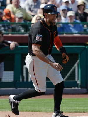 Hunter Pence was not happy after Mat Latos hit him with a pitch.
