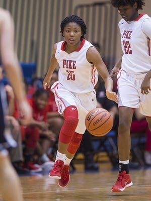 FILE — Angel Baker scored a game-high 18 points to lead Pike past Carmel on Friday night.