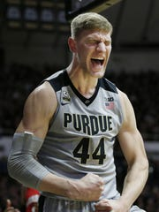 Isaac Haas lets out a scream after scoring in Purdue's 74-62 victory over Nebraska this past January.