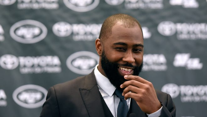 Former Jets cornerback Darrelle Revis reacts as a reporter asks if coaching is a possibility for him upon announcing his retirement from the NFL in Florham Park on Tuesday, July 24, 2018.