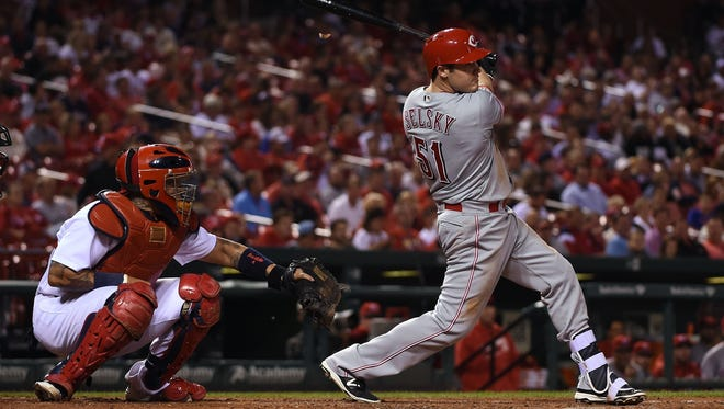 Reds rookie Steve Selksy had five hits in Monday's 15-2 victory over the Cardinals.