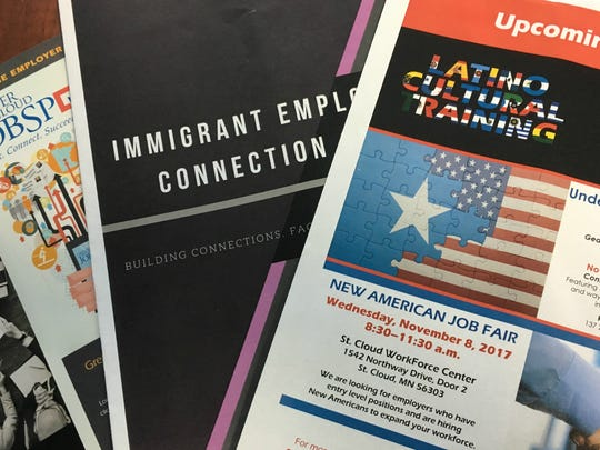 The Immigrant Employment Connection Group offered fliers about events to help employers diversify their workforce at a panel Friday, June 30 in Sartell.