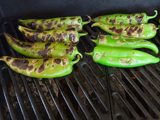 Hatch chiles blackened