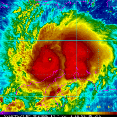 An infrared image of Hurricane Matthew captured around