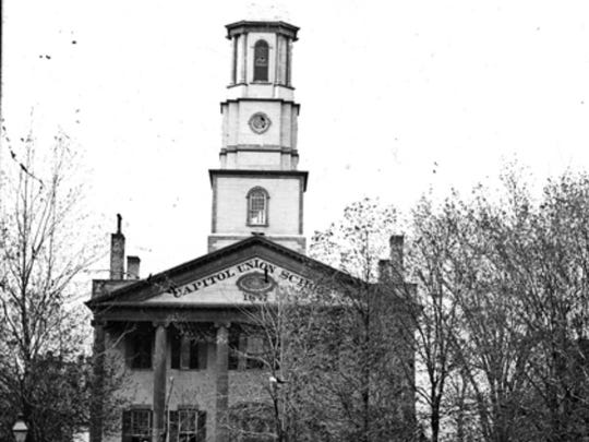 The first Michigan state Capitol, as it looked before the 1875 addition and makeover.